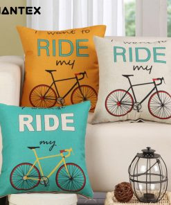GIANTEX Bike Pattern Linen Cushion Cover Decorative Pillowcase Home Decor Sofa Throw Pillow Cover 45x45cm U1440
