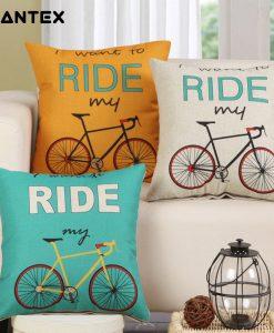 GIANTEX Bike Pattern Linen Cushion Cover Decorative Pillowcase Home Decor Sofa Throw Pillow Cover 45x45cm U1440