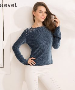 Gaovot 2018 Spring Women Tops Series Autumn Beading Casual Full Sleeve Velvet T Shirts Female Rib Fashion Camisetas SAB34805 1