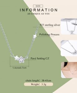 BAMOER Genuine 925 Sterling Silver Double Sparkling CZ Star Women Pendant Necklaces for Women Authentic Silver Jewelry PSN020 1