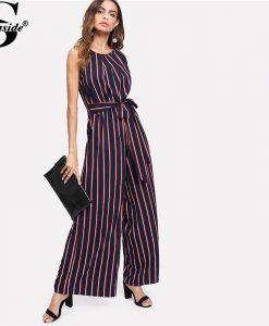 Sheinside 2018 Round Neck Sleeveless Mid Waist Jumpsuit Women Elegant Self Belted Bow Vertical Striped Wide Leg Jumpsuit