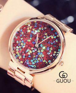 GUOU Women Watches Top Brand Luxury Colorful Diamond Wrist Watches Fashion Shiny Rhinestone Watch Rose Gold Clock reloj mujer 1