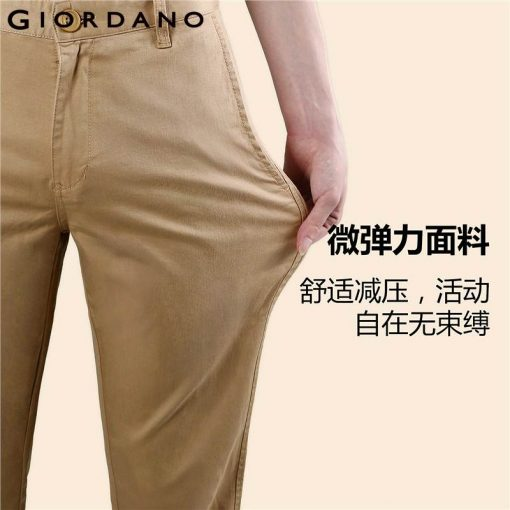 Giordano Men Pants Men Khaki Pantalon Homme Slim Pants Men Quality Trousers Men Cotton Business Casual Modern Pantalones Hombre 4