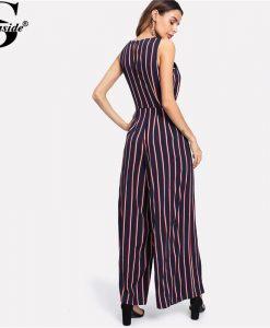 Sheinside 2018 Round Neck Sleeveless Mid Waist Jumpsuit Women Elegant Self Belted Bow Vertical Striped Wide Leg Jumpsuit 1
