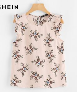 SHEIN 2018 Summer Women Blouses Pink Chiffon Sleeveless Casual Blouse Frilled Armhole Button Closure Back Floral Top
