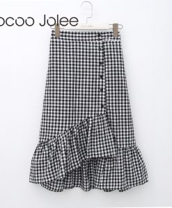 Jocoo Jolee England-Style Plaid Skirt for Women Fashion Asymmetrical Skirt with Ruffles Hem Front Button Skirt 2018 Spring New
