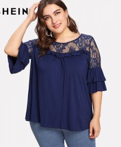 SHEIN Navy Plus Size Summer O Neck Lace Ruffle Sheer T Shirts Women Spring Summer Top Short Sleeve Casual T-shirt