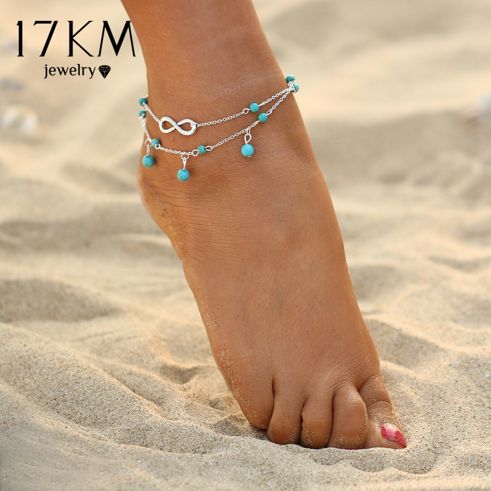 17KM New Double Infinite Beads Pendant Anklet Foot Chain For Woman Summer Bracelet Charm 2 Color Anklets Foot Jewelry Gift  1