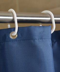GIANTEX NavyBlue Polyester Bathroom Waterproof Shower Curtains With Plastic Hooks U1263 1