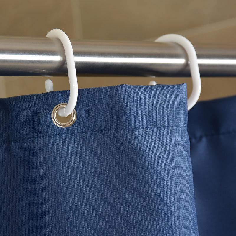 GIANTEX NavyBlue Polyester Bathroom Waterproof Shower Curtains With Plastic Hooks U1263 1