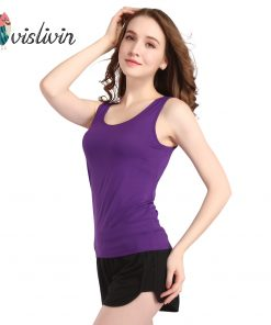 Vislivin 2017 Summer Adjustable Strap Vest Top Padded Bra Modal Tank Sexy Women Home Outside Tops Camisole Soft Cotton T-shirts  1