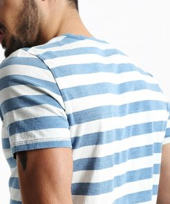 SIMWOOD New Men T shirt Fashion O-neck Short-sleeved Slim Fit Blue Striped T-SHIRT Man Top Tee Plus Size Free Shipping TD1034 1
