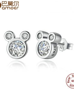 BAMOER ANNIVERSARY SALE 2018 925 Sterling Silver Dazzling Miky Mouse Stud Earrings for Women & Girls Sterling-Silver-Jewelry