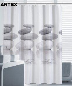 GIANTEX Gray Stone Pattern Polyester Bathroom Waterproof Shower Curtains With Plastic Hooks U1023