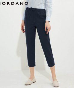 Giordano Women Linen Cotton Pants Straight Cutting Women Trousers Ankle Length Pants For Women Pantalon Femme Calca Feminina