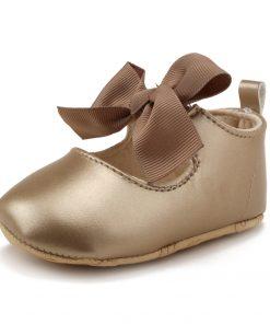 WONBO 0-18M Toddler Baby Girl Soft PU Princess Shoes Bow Bandage Infant Prewalker New Born Baby Shoes 1