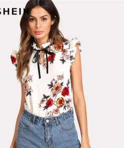 SHEIN Pearl Beading Embellished Frill Trim Floral Top Women Stand Collar Sleeveless Tie Neck Bow Blouse 2018 Casual Blouse