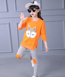 Yeedison Girls Clothing Set Spring Autumn Long Sleeve Cartoon Fox Printing T-shirt + Pants Cotton Kids Clothes 2pcs Set 1