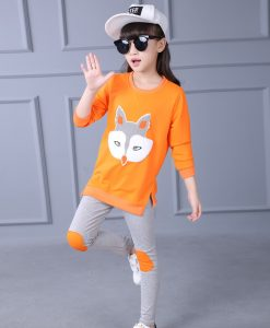 Yeedison Girls Clothing Set Spring Autumn Long Sleeve Cartoon Fox Printing T-shirt + Pants Cotton Kids Clothes 2pcs Set 1