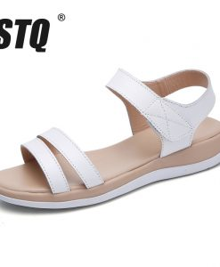 STQ 2018 Women sandals summer genuine leather flat sandals ankle strap beach sandals ladies white gladiator sandals WF038 1