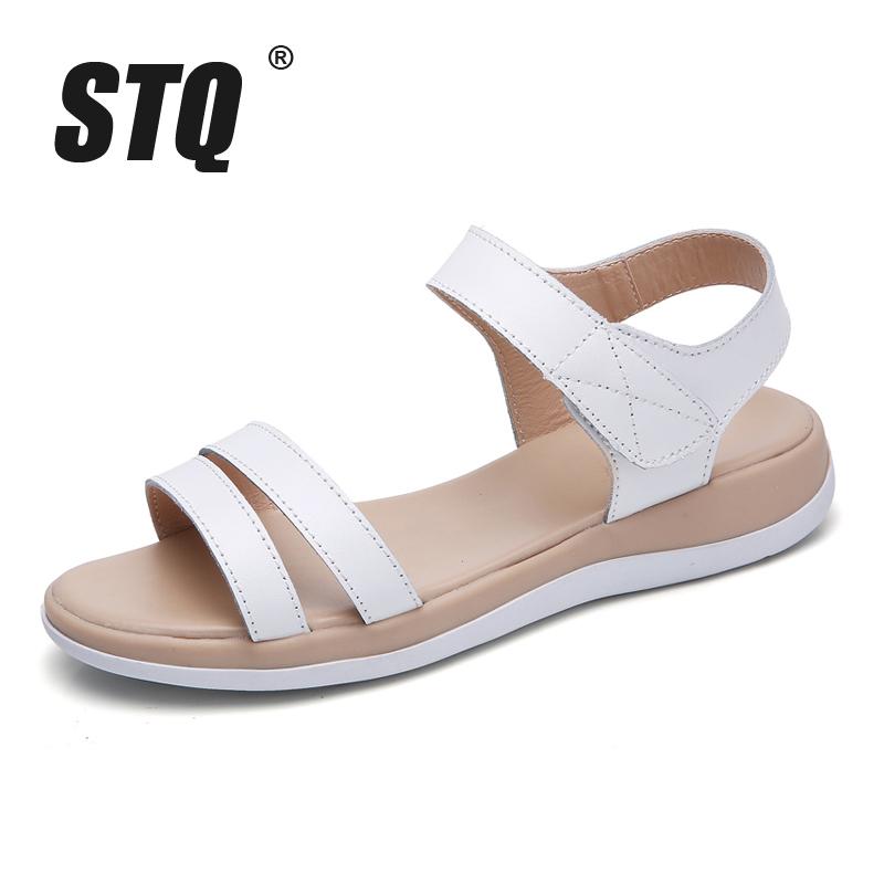 STQ 2018 Women sandals summer genuine leather flat sandals ankle strap beach sandals ladies white gladiator sandals WF038 1