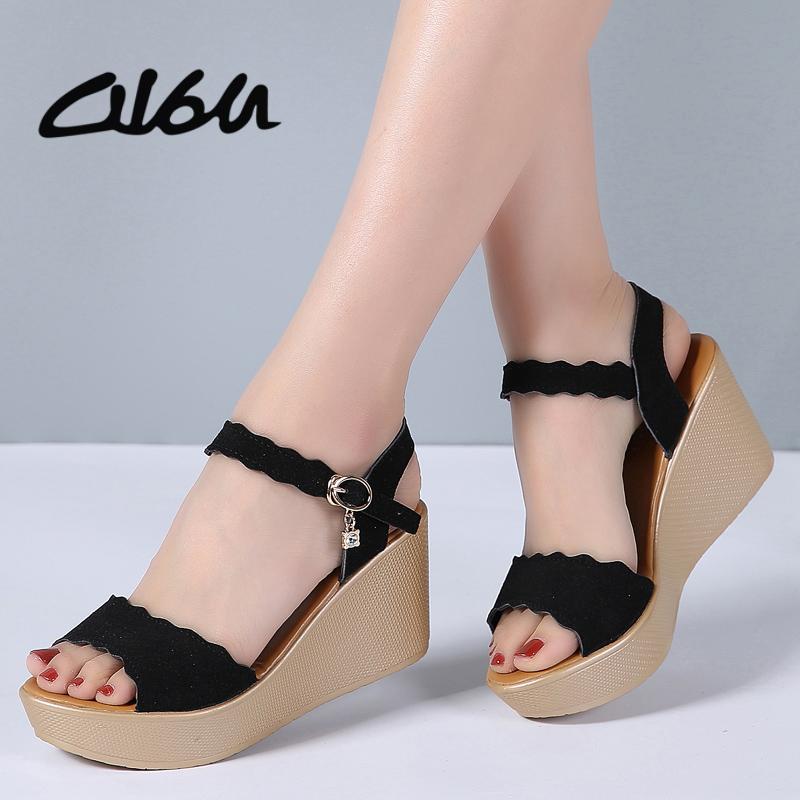 O16U Women Sandals Office Suede Leather Wedges Thick High Heels Sandals Sexy Mature gladiator Platform Sandals ladies Summer