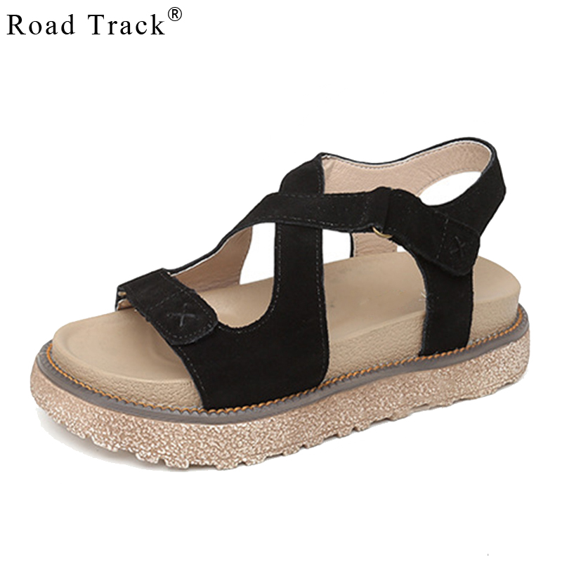Road Track Female Summer Fashion Shoes Thick Bottom Solid Color Round Toe Breathable Comfortable Flat Sandals XWA1369-5