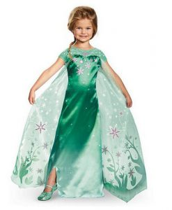 New Cute Lolita Style Green Anna Dress Girl Anna Elsa Costume Character Cosplay Clothes Flower Print Girl Princess Dress Tail