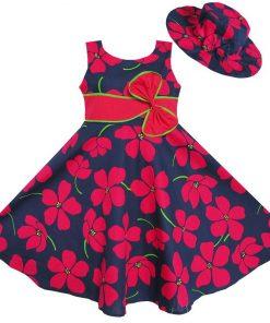 Sunny Fashion 2 Pecs Girls Dress Sunhat Bow Tie Flower Summer Beach Kids Clothing Cotton 2018 Summer Princess Wedding Size 4-12