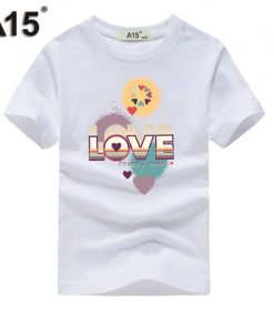 A15 Baby Boy Clothes Summer 2018 Cotton Tshirt 3D White Printed T-shirt for Girls Clothing Kids Short Sleeve Tees 6 8 10 12 Year 1