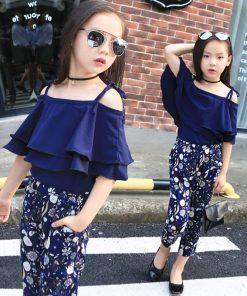 2018 New Summer Kids Clothes Children Clothing Set Girls Summer Casual Clothes Set Short Off Shoulder Top Floral Pant 1