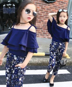 2018 New Summer Kids Clothes Children Clothing Set Girls Summer Casual Clothes Set Short Off Shoulder Top Floral Pant 1
