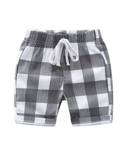Summer Children Shorts Linen Boys Beach Shorts Kids Trousers Plaid Shorts For Boys Toddler Pants 1