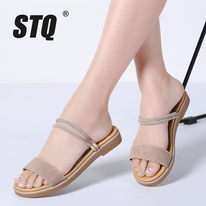 STQ 2018 Summer women sandals black flat Sandals women flat rubber Sandalias slippers ladies flat low heel slides sandals 8025-1