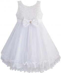 Sunny Fashion Girls Dress White Pearl Tulle Layers Wedding Pageant Flower Girl Kids 2018 Summer Princess Party Dresses Size 2-10