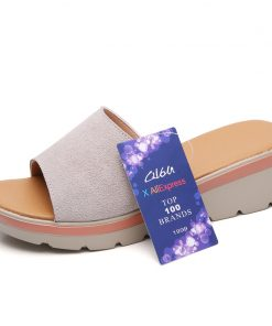 O16U Summer Women slippers Suede Leather Open Toe T-Strap Thick Soled Outside flip flops shoes women Wedges Flat Slides Sandals 1