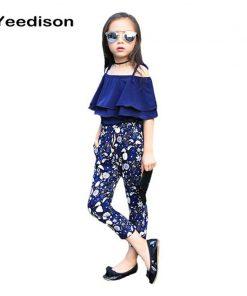 2018 New Summer Kids Clothes Children Clothing Set Girls Summer Casual Clothes Set Short Off Shoulder Top Floral Pant