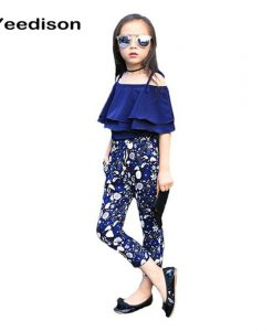 2018 New Summer Kids Clothes Children Clothing Set Girls Summer Casual Clothes Set Short Off Shoulder Top Floral Pant