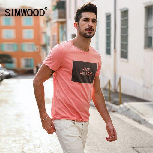 SIMWOOD 2018 Brand Fashion Casual Men T shirt Summer Short Sleeve O-neck Letter Print Slim T shirt Mens Tops Tee TD017112