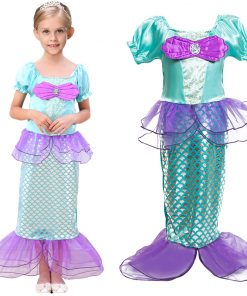 Cute Girls Summer Dress Girl Princess Dress Halloween Ariel Cosplay Costume Mermaid Dress Kids Clothes Beach Children Clothing 1