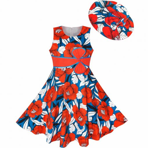 Sunny Fashion 2 Pecs Girls Dress Sunhat Bow Tie Flower Summer Beach Kids Clothing Cotton 2018 Summer Princess Wedding Size 4-12 2