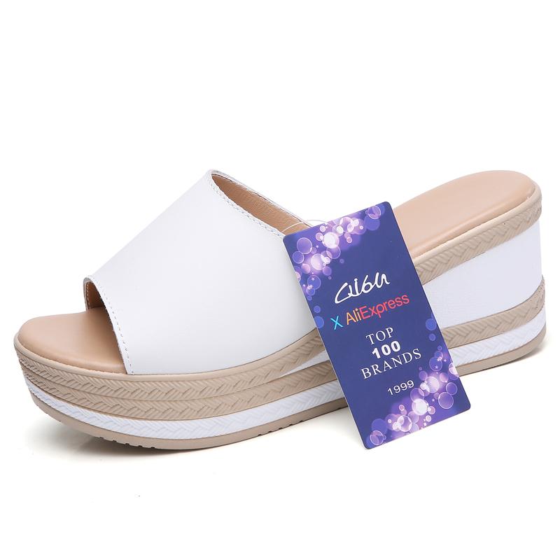 O16U Summer Slippers Women Flat Platform Sandals Shoes Beach Shoes Slip-on round toe Leather Wedges slides flip flops Ladies 1
