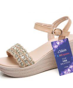 O16U Women Summer Sandals Shoes Genuine Leather Buckle Mature Sandals Ladies Crystal Wedges Platform Flat Sandals Women Shoes 1