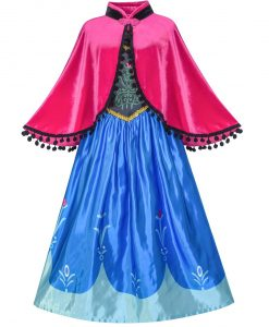 Princess Dress Anna Costume Dress Up Cosplay Cloak Snowflake 2018 Summer Wedding Party Dresses Kids Clothes Size 5-12 Pageant
