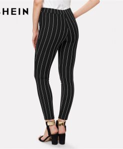 SHEIN Office Vertical Striped Skinny Pants Women Elastic Waist Belted Bow Tapered Trousers Spring New Elegant Workwear Pants 1