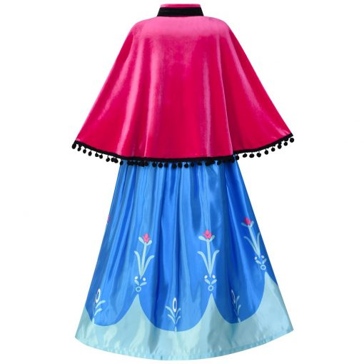 Princess Dress Anna Costume Dress Up Cosplay Cloak Snowflake 2018 Summer Wedding Party Dresses Kids Clothes Size 5-12 Pageant 1