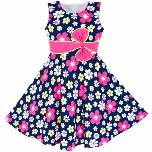 Sunny Fashion 2 Pecs Girls Dress Sunhat Bow Tie Flower Summer Beach Kids Clothing Cotton 2018 Summer Princess Wedding Size 4-12 3