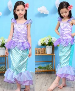 Girls Summer Outfits Mermaid Dress Halloween Princess Ariel Cosplay Costume Little Mermaid Kids Clothes Fancy Children Clothing