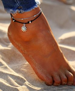 17KM Vintage Boho Multi Layer Beads Anklets For Women Fashion Sun Pendent Anklet Cotton Handmade Chain Foot Party Jewelry Gift  1