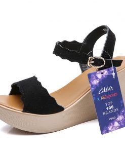 O16U Women Sandals Office Suede Leather Wedges Thick High Heels Sandals Sexy Mature gladiator Platform Sandals ladies Summer 1